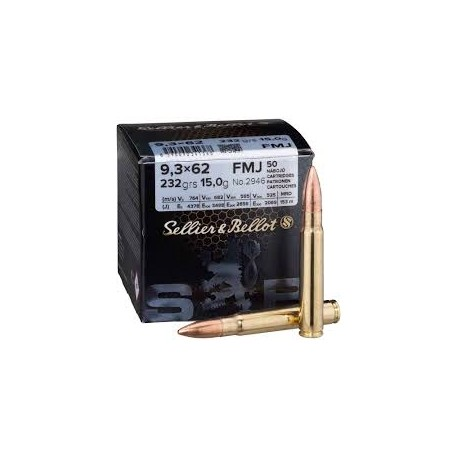 Sellier & Bellot 9,3x62 15gm FMJ