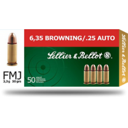 6,35 Browning, Sellier & Bellot, 3,3g (50gr) FMJ